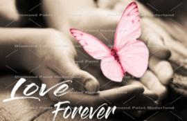 Diamond panting forever vlinder (roze)(70x50cm)(full)