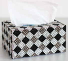 Diamond painting tissue  box zwart/wit blokjes (zelf nog te painten)