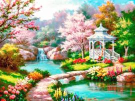 Diamond painting prachtige tuin (60x45cm)(full)