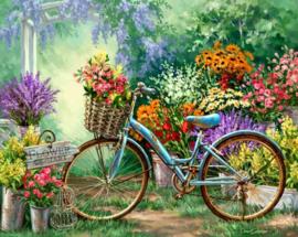 Diamond painting bloemen fiets (60x40cm)