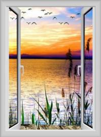 Diamond painting raam uitzicht zonsondergang (70x50cm)(full)