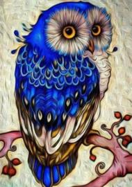 Diamond painting blauwe uil (30x20cm)(full)