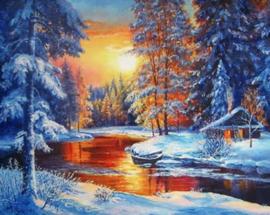 Diamond painting winter landschap (60x45cm)(full)