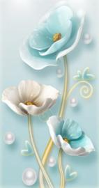 Diamond painting prachtige blauwe bloemen (60x30cm)(full)