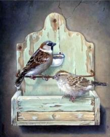 Diamond painting schattige vogeltjes (60x45cm)(full)