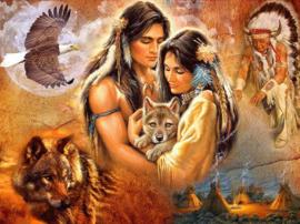 Diamond painting indiaan met wolven (60x45cm)(full)