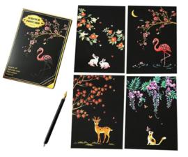 Scratch painting kaarten (4 stuks) natuur)