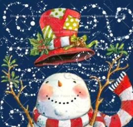 Kerst sneeuw pop 20 x 20 cm (full)