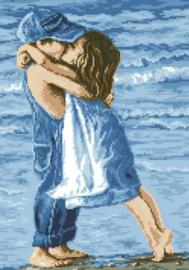 Diamond painting jongen kust meisje (50x35cm)(full)