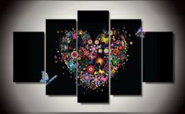 Diamond painting hart (5 luik)(2x15x25cm)(2x15x40cm)(1x15x50cm)