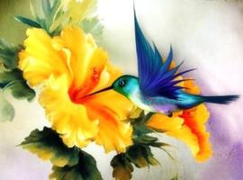 Diamond painting bloemen vogel (50x40cm)(full)