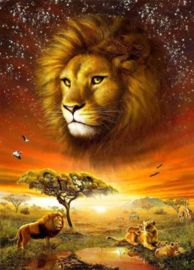 Diamond painting koning leeuw (60x40cm)(full)