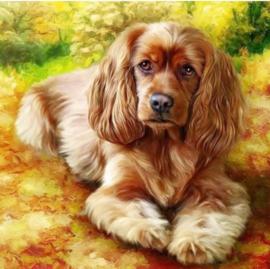 Diamond painting lief hondje (50x50cm)(full)