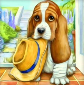 Diamond painting hond met hoed (20x20cm)(full)
