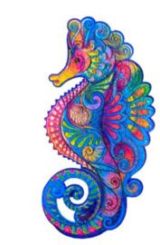 Houten puzzel 3D zeepaardje A4