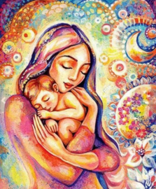 Diamond painting mama en baby (60x40cm)(full)