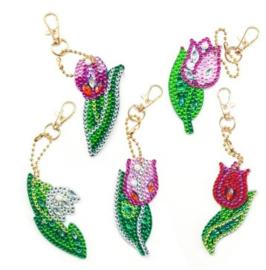 Diamond painting sleutelhangers (bloemen)(full)