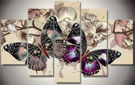 Diamond painting vlinder 5 luik (2x15x25cm)(2x15x35cm)(1x15x40cm)(full)