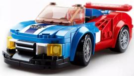 Diamond blocks (grote steentjes) rood/blauwe auto (164 blokjes)