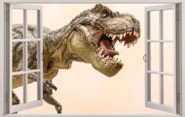 Diamond painting raam uitzicht dinosaurus (60x40cm)(full)