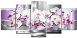 Diamond painting orchidee 5 luik (2x15x23cm)(2x15x30cm)(1x15x38cm)