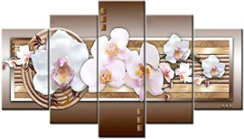 Diamond painting Orchidee 5 luik (2x20x30cm)(2x20x40cm)(1x20x50cm) (full)