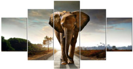 Diamond painting olifant 5 luik (2x15x20cm)(2x15x30cm)(1x15x40cm)(full)