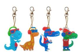 Diamond painting sleutelhangers dinosaurus