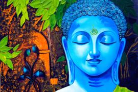 Diamond painting kleuren boeddha blauw (70x50cm)(full)