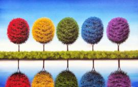 Diamond painting kleur bomen (60x40cm)(full)