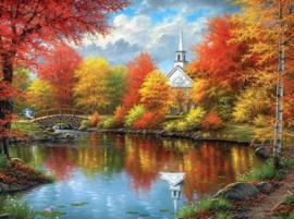 Diamond painting kerkje aan het water (60x45cm)(full)