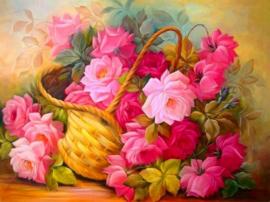 Diamond painting mandje rozen (60x45cm)(full)
