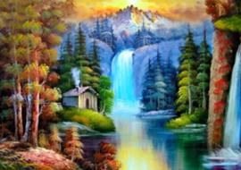 Diamond painting waterval bergen (60x45cm)(full)