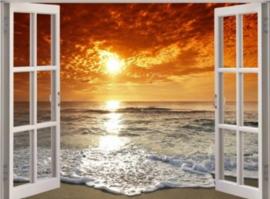 Diamond painting raam uitzicht zonsondergang (50x40cm)(full)