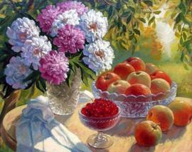 Diamond painting bloemen met fruit (50x40cm)(full)