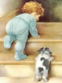 Diamond painting baby met hondje (50x40cm)(full)