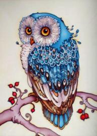 Diamond painting blauwe uil (25x20cm)(full)