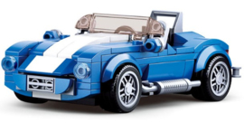 Diamond blocks (grote steentjes) wit/blauwe auto (169 blokjes)
