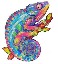 Houten puzzel 3D kameleon A5