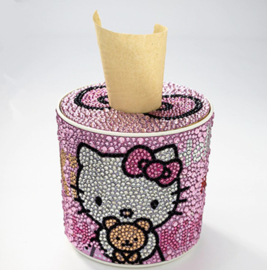 Diamond painting tissue box Hello Kitty (rond)(zelf nog te painten)