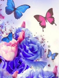 Diamond painting blauwe roos met vlinders (50x40cm)(full)
