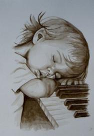 Diamond painting meisje op piano (60x40cm)