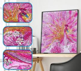 Diamond painting roze pauw (25x25cm)