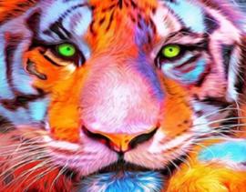 Diamond Painting tijger (25x15cm)(full)(ronde steentjes)