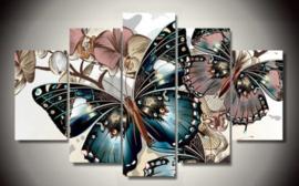 Diamond painting mooie vlinder 5 luik (2x15x25cm)(2x15x40cm)(1x15x50cm)(full)