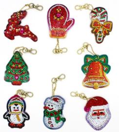Diamond painting sleutelhangers kerst (full)