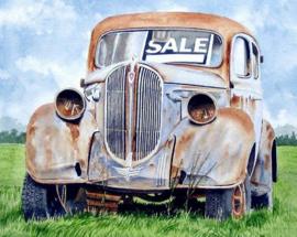 Diamond painting oude auto (60x40cm)