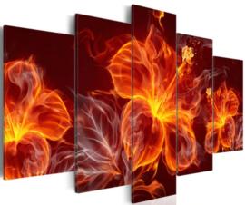 Diamond painting vuur bloemen (5 luiken)(2x15x20cm)(2x15x30cm)(1x15x40cm)(full)
