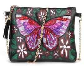 Diamond painting tasje met rits (vlinder)