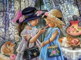 Diamond painting schattige meisjes (60x45cm)(full)